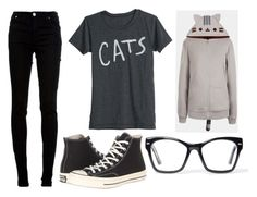 """Cat Week:Monday"" by doodlebob3 ❤ liked on Polyvore featuring dVb Victoria Beckham, Converse and Spitfire"