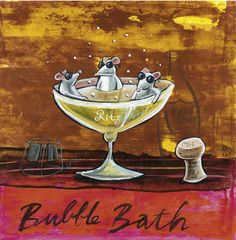 'Bubble Bath Mice' by Frans Groenewald Africa Art, Out Of Africa, Pretty Pics, Pretty Pictures, South African Artists, In Vino Veritas, Wine Time, Bubble Bath, Funny Facts