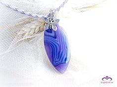 Purple agate pendant necklace butterfly charm by MalinaCapricciosa, $22.00