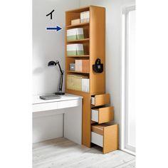 デスクワークが快適になる機能的デスク横本棚。机の横のすき間にピタッとフィット。圧迫感の少ないシンプルデザインのすき間収納ラックです。上台はオープン部の向きが変えられる、おすすめの引き出し付き書棚。