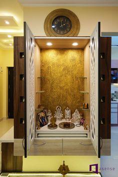 Ramesh & Vidya's apartment in Purva Raman Nagar, Bangalore Room Design Bedroom, Pooja Room Door Design, Luxury Bedroom Design, Temple Design For Home, My Home Design, Tiny House Design, Wardrobe Interior Design, Door Design Interior, Living Room Decor Brown Couch