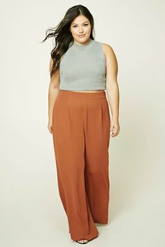 ff94936c6d081 Forever 21+ - A lightweight pair of woven palazzo pants featuring a high- waist