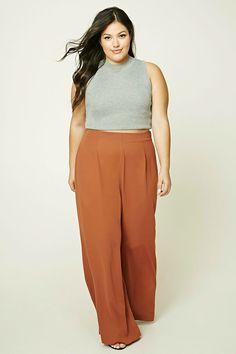 f5bd33a50b2 Forever 21+ - A lightweight pair of woven palazzo pants featuring a high- waist · Wide Leg Pants Outfit SummerSummer ...