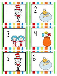 Free Dr. Seuss calendar counters.  I'd probably use these as a math center with number order or making sets.