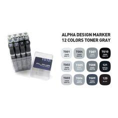 Graphic Art Marker Alpha Design Marker Twin Tip 12 Color Toner Gray illustration #Alpha