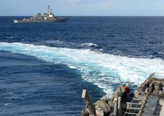 MEDITERRANEAN SEA (Feb. 25, 2014) The guided-missile destroyer USS Stout (DDG 55) transfers ship parts to the guided-missile destroyer USS Ramage (DDG 61). Ramage and Stout are on a scheduled deployment supporting maritime security operations and theater security cooperation efforts in the U.S. 6th Fleet area of responsibility. (U.S. Navy photo by Mass Communication Specialist 2nd Class Jared King/Released)