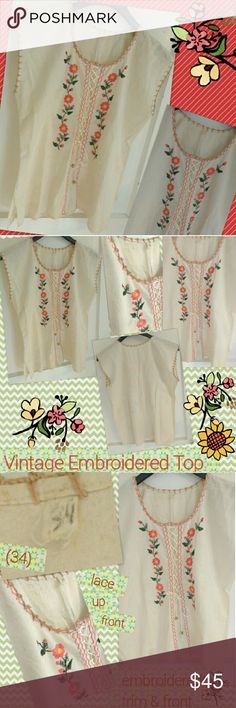 Vintage Embroidered Mexican Boho Festival Top Mexico size 34 (approx. US size 10) , this festival ready vintage Bohemian top has beautiful bright coral/pink and yellow flowers embroidered on the front along with a zig zag pattern and lace up beaded cord (does work). Vest style, with side slits, tan embroidered sleeves and neckline. The detail work is fabulous and color too beautiful & challenging to capture with my camera!  SEE ALL PICS~ fabric is unbleached muslin giving the appearance of…