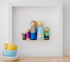 Custom peg dolls family portraits by Bazar Rosa on Etsy-would be cute for the girls' dollhouse