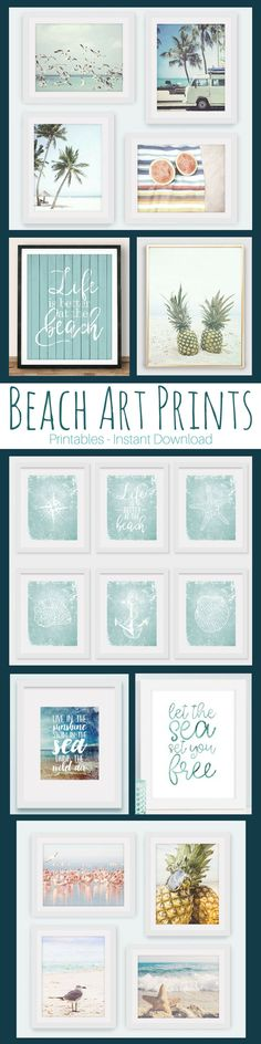 Beach, Ocean, Sea Art Prints for gallery walls and home decor. #printable #beach #ad #etsyseller #sea #pineapple #tropical #plamtree