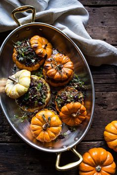 Nutty Wild Rice and Shredded Brussels Sprout Stuffed Mini Pumpkins 1 Easy Thanksgiving Sides, Healthy Thanksgiving Recipes, Vegetarian Thanksgiving, Thanksgiving Appetizers, Thanksgiving Blessings, Shredded Brussel Sprouts, Brussels Sprouts, Half Baked Harvest, Mini Pumpkins