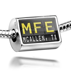 Sterling Silver Charm MFE Airport Code for McAllen TX  Bead Fit All European *** Click image to review more details.