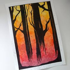 I showed just the background gradient version a few weeks ago buts here's the finished painting. Well, it's a watercolour and Sharpie artwork - couldn't find my black acrylic paint to do the trees! #art #watercolor #watercolour #painting