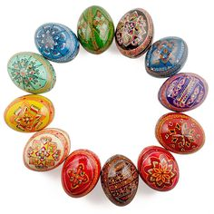 12 Ukrainian Hand Painted Pysanky Wooden Easter Eggs - Historically, one of the most popular Easter gifts was a hand painted in various patterns Easter egg.
