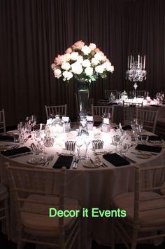 White roses in tall trumpet vases #wedding centerpieces  #whiterosescenterpieces #crystalchandeliers #floralstyling #floral #flowers #flowerstyling #floraldesign #floraldecor #decoritevents #floralcenterpieces #flowerdecorations #melbourne #melbourneevents #floralcenterpiecesmelbourne  www.decorit.com.au (20)