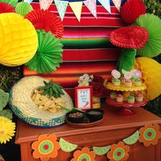Cinco de Mayo party - cool backdrop, love the chips served out of a sombrero