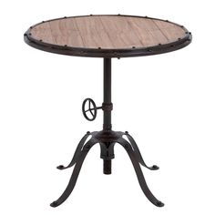 Casa Cortes Handcrafted Industrial Round Accent Table | Overstock.com Shopping - The Best Deals on Coffee, Sofa & End Tables