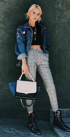 trendy fall outfit idea : denim jacket + top + grey pants + bag + boots