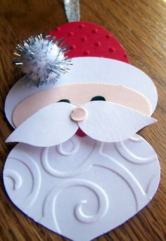 handmade santa ornament - punch art - cute santa ornament ...