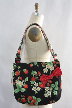 Messenger Bag Strawberries on Black Cross Body by boojibootique, $21.75