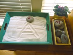 Letter recognition sensory bin provides the child with a sensory input that can assist him or her with letter memorization and identification.