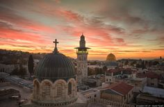A pre-dawn view from the rooftop of the Sisters of Zion Convent off the Via Dolorosa.  Jerusalem.