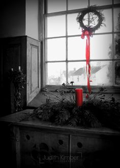 Black And White Photography Red Ribbon Fine Art Photograph Candle Window