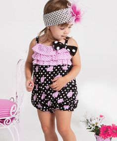Take a look at this Black & Pink Polka Dot Heart Bubble Romper - Infant & Toddler by Nesting Baby on today! Polka Dot Jumpers, Heart Bubbles, Little Dresses, Baby Dresses, Girls Bathing Suits, Baby Bloomers, Cute Outfits For Kids, Cute Little Girls, Pink Polka Dots