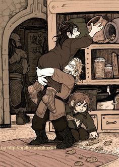 Little Fili,Kili and Gimli <3 but is Dwalin standing guard?? They probably offered him some of the cookies xD