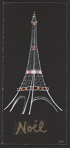 Citation: Eiffel Tower Christmas card, 19-- . Louisa Robins papers, Archives of American Art, Smithsonian Institution.