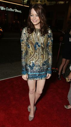 A standout moment for Emma Stone in an embellished Emilio Pucci.