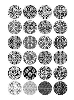 Damask Black and White Pattern Printable Round Images for Jewelry Making, Earrings, Cuff Links, Resin Jewelry. ■ You will receive these Round Images in on separate collage sheets. ■ Collage Sheet size - High Quality 300 dpi JPG ◆ Same Damask design in Bottle Cap Images, Bottle Caps, Printable Images, Photo Fix, Image Sheet, Decoupage Art, Art Nouveau Design, Collage Sheet, Digital Collage