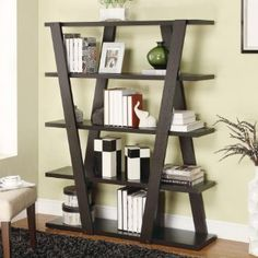 Amazon Inverted Support Open Wooden Bookshelf With 5 Shelves Folding Patio