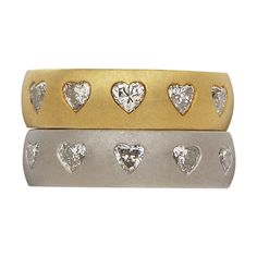 Pair of Platinum and Gold Heart shaped Diamond Band Rings   From a unique collection of vintage band rings at http://www.1stdibs.com/jewelry/rings/band-rings/