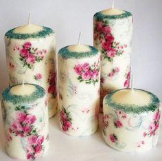 świece komplet kwiaty w Kolorowa83 na DaWanda.com #niezchinzpasji