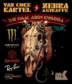 The Haal Asem Kwagga Tour Legend Music, Monster Energy, Music Posters, Coke, Skulls, Giraffe, Legends, Van, Tours