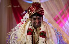 Groom is in a good mood while the marriage rituals are being carried out!