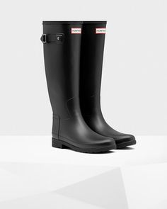 Womens Black Tall Refined Rain Boots | Official US Hunter Boots Store