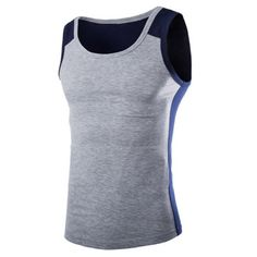 Fashion Round Neck Slimming Color Block Splicing Sleeveless Polyester Tank Top For Men #women, #men, #hats, #watches, #belts