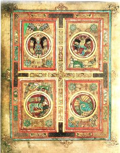 The Book of Kells, c. 800 AD. This page contains the symbols of the Four Evangelists: a man (Matthew), a lion (Mark), an eagle (John) and an ox (Luke).
