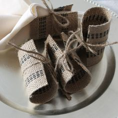 Burlap Jute Napkin Rings Black by HomeGoodsAlacarte on Etsy