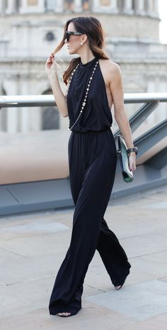 Backless Black Jumpsuit + Chanel Accessories