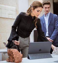 ♔♛Queen Rania of Jordan♔♛.. May 3, 2017...Queen Rania visits Fab Lab Irbid and the Jordan University