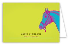 If you're looking for inexpensive personalized stationery, you should take a look at all our offerings in the Polka Dot Stationery Store. You will notice this Neon Horse Note Card from Fresh Press right away due to how modern and trendy this stationery is