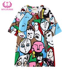 Find More T-Shirts Information about MYCOURSE 2016 New Summer Harajuku Style Character Head Digital Printing short Sleeved Loose Tee Shirts Female Colorful T Shirt ,High Quality t-shirt outlet,China shirt packages Suppliers, Cheap t-shirt sample from MYCOURSE on Aliexpress.com