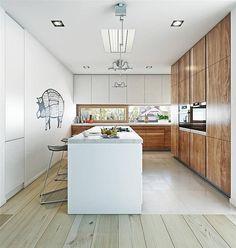 Projekt domu Nowoczesny 1 216,3 m2 - koszt budowy - EXTRADOM Home Organization, Kitchen Island, Kitchen Wood, Floor Plans, House Design, Architecture, Interior, Home Decor, Kitchens