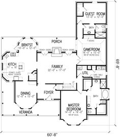 First Floor Plan of Country   Farmhouse  Victorian   House Plan 95687