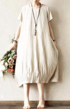 Linen Handmade Maxi Size Dress Plus Size Oversize Top Causel Women Clothes
