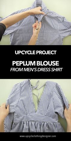 Peplum Blouse From Men's Dress Shirt (Staud Inspired) Peplum Blouse, Dress Shirt, Diy Clothing, Sewing Clothes, Shirt Refashion, Diy Clothes Refashion, Sew Your Own Clothes, Old Dresses, Learn To Sew