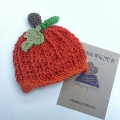 Brand new listing, adorable pumpkin baby hat. Fits 0-3 months. Made from machine washable wool yarn. These can also be made to order in any size up to adult. A perfect Halloween themed photo prop.