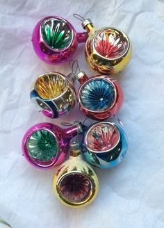 Vintage Christmas Ornaments Glass Reflective Indents Hand Painted Mica Snow…